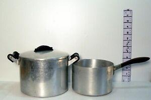 Pair of 1950s Vintage Diamond & Swan Brand  Aluminium  Saucepans One is Lidded