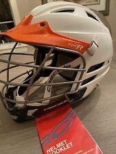 Cascade cpv-R Lacrosse Helmet w/ Chin Strap New!White w/ Orange Trim Size S/M