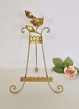 "11"" Vintage Italian Florentine Gilt Metal Easel Display Stand Italy Floral Rose"