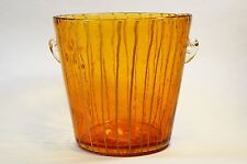 Italian Murano Venini Disaronno Ice Bucket Amber Bubble Art Glass Hand Blown