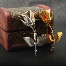 Vintage 24K Gold Plated Rose Brooch Pin Mens Suit Wedding Groom Jewelry