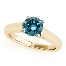 1 Ct Fancy Blue Diamond  I1 Solitaire Bridal Ring Stylish Best Price Ebay 14k!!