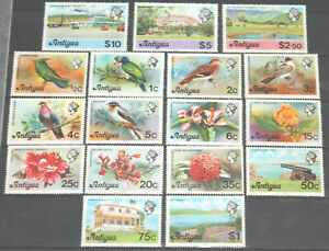 Antigua 1976 QEII part set of 17 values to $10 (no 10c) MNH