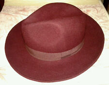 Cappello Falda Stile Borsalino Bordeaux 100% Lana Made in Italy