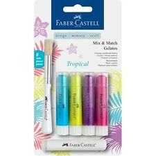 #121807 Faber Castell 6pc Tropical Tones Gelatos Watersoluble Crayon Craft Blend
