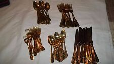 Christmas Gold Stainless Steel China Silverware 80 Piece VTG Flatware Made Japan