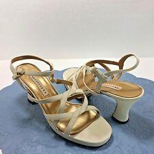 "Dress Sandals 3"" Heels Apostrophe Womens Strappy Slingback Fabric Shoes Sz 8.5M"