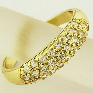 Diamond Simulated Eternity Ladies Ring 18k Yellow Gold Filled Solid Pave Design