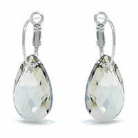 Drop Earrings with Grey Silver Shade Pear Crystals from Swarovski Rhodium Plated