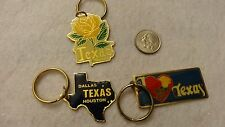 """""""Texas""""  Themed Key Chains Pack of 3 Vintage (80's) Unused!!  Old Inventory!"""