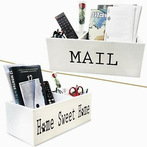 Mail Holder For Countertop Mail Organizer Wooden Mailbox Rustic Decor Key Holder
