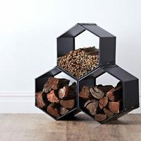 Firewood Log Rack holder Indoor Wood storage Fireplace Metal Steel Basket