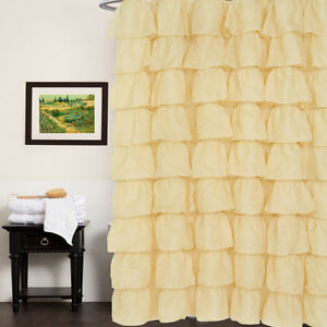 "Fabric Shower Curtain 70"" x 72"" Elegant Crushed Voile Ruffled Tier  Gold"