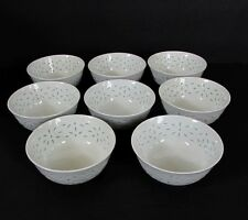 """Set of 8 Chinese White Translucent Porcelain Rice Grain Pattern Soup Bowls 4.5"""""""