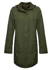New Womens Girls Hooded Fishtail Showerproof Light Rain Jacket