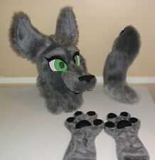 Gray Wolf Fursuit Partial! Animal Costume Mascot! Head, Hand Paws, And Tail!