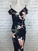 AX Paris Navy Pink Floral Print Cold Shoulder V-Neck Plunge Party Dress Size 10