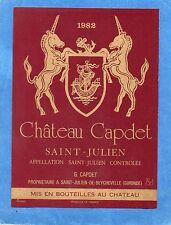 SAINT JULIEN ETIQUETTE CHATEAU CAPDET 1982 75 CL  RARE        §01/06§