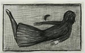 Charles Blackman Original - Floating Schoolgirl c1960 - Charlcoal