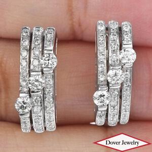 Estate 1.25ct Diamond 14K Gold Elegant Earrings 6.2 Grams NR