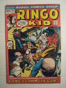 1972 Marvel Comic; #15; The Ringo Kid; Fang, Claw & Six-Gun; Western Book; July