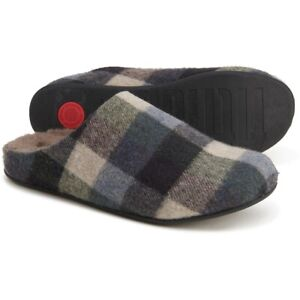 FITFLOP SHOVE CHECKED SLIPPERS NEW MEN'S SIZE 11 GREY/BLUE PLAID