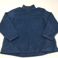 Croft & Barrow Fleece Jacket Mens 2XL XXL Blue Quarter Zip Collared Insulated