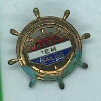 Vintage Ship's Wheel Sailing Pin
