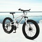 """26"""" Fat Tire Mountain Bike 21-Speed High-Carbon Steel Frame Bicycle MTB Bikes"""
