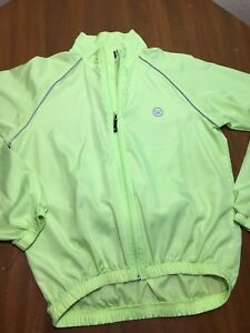 Canari Cycling Jacket Lime Green Mens Small  Reflective Water Pouch