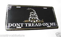 "Don't Tread on Me Black Gadston Flag 2nd Amendment Embossed License Plate 6x12"""