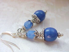 Holland China Delft Blue Vintage German Glass Bead Earrings Opal Milkglass Gifts