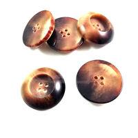 PACK OF 10 25mm DARK BROWN BEIGE FADE INDENT 4 HOLE PLASTIC ROUND BTN (27339-40)