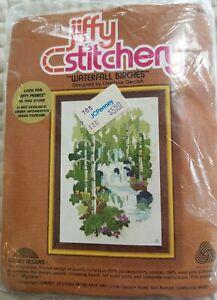 "Jiffy Stitchery, ""Waterfall Birches"" Complete Crewel Kit #838, 5 x 7"" NOS NIP"