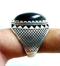 54.70 Cts Beautiful Black Agate Astrological Men's Ring Size 13 Loose Gemstone