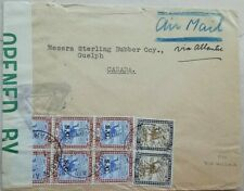 SUDAN 1942 AIRMAIL COVER WITH S. G. STAMPS + CENSOR LABEL TO CANADA VIA NIGERIA