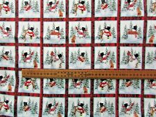 Christmas fabric Snowman squares Henry Glass Half metre pieces