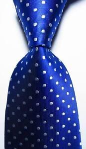 New Classic Polka Dot  Blue White JACQUARD WOVEN 100% Silk Men's Tie Necktie