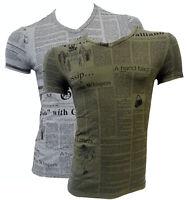 T-shirt maglia scollo a V John Galliano con stampa with print Uomo man manica co