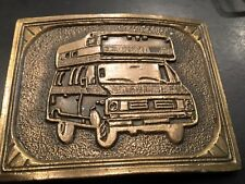 "Vintage 1970s Camper Van Rv Brass Belt Buckle 3 1/4"""
