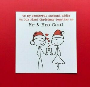 On Our 1st First Christmas Card Married - as Mr & Mrs - as Husband & Wife