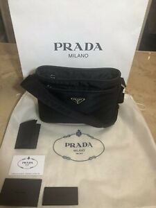 Prada Nylon & Saffiano Leather Crossbody Unisex Shoulder Bag Blue NWT