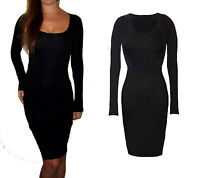 Womens Long Jersey Stretch Bodycon Long Sleeve Dress Black Size 8 10 12 14 16 18