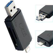 2 in 1 8-Pin to SD Card Camera Reader adapter for Iphone 7 6 6S 5S Ipad Black