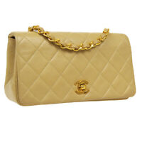 CHANEL Quilted Full Flap Single Chain Shoulder Bag 1283342 Beige Leather AK46445