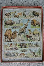 Vintage French Adolphe Millot Mammals Wood Jigsaw Puzzle Odd Shapes 70 pcs