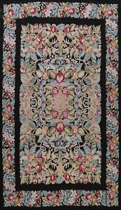 Floral Aubusson Needlepoint Tapestry French Area Rug Hand-woven Wool 10'x14'