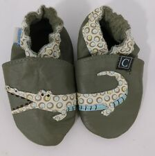 Robeez 6-12 Months Boys Alligator Crib Shoes Baby Infant Leather Toddler Green