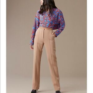 DIANE VON FURSTENBERG DVF Camel Crepe Bonded Tailored Trousers