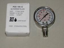 "STAINLESS PRESSURE GAUGE LIQUID GLYCERINE 1/4"" 100psi 2"" Water Well Tank PGS100G"